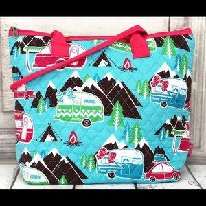 New!Happy camper Quilted shoulder bag w/pink trim